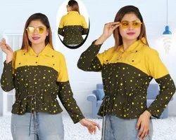 Ladies Printed Yellow Green Cotton Top