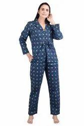 Cotton Printed Night Suit, Shirt & Pant, Size: XL