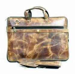 Leather Brown Plain Handbag, For Office, Gender: Men