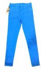 Plain Regular Fit Ladies Single Button High Waist Denim Jeans, Waist Size: 32