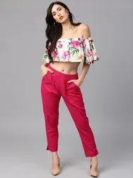 Regular Fit Women Dark Pink Pure Cotton Trousers