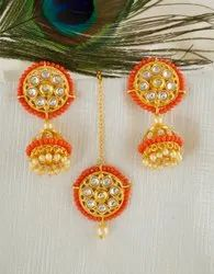 Red Colour Gold Finish Styled With Moti Beads Fancy Jhoomka