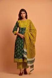 ACKS Stitched Pure Cotton Anarkali Kurta Pant Dupatta Set, Handwash