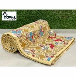 Printed Yellow Double Bed AC Dohar Blanket