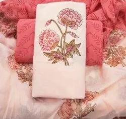 Printed Pink Hand Block Printed Cotton Fabric Suit