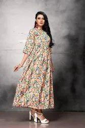 Printed Ladies Peach Poly Crepe Long Dress