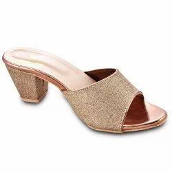 Party Wear Ladies Golden Sandal, Size: 7