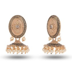 Seevee Fashion Zinc Alloy ( Base ),Pearl Women Golden Jhumka Earring