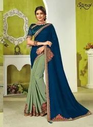 Designer Half And Half Silk Saree