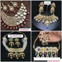 Kundan With White Stone Necklace And Earing Jewellery Set For Women And Girl Bijoux