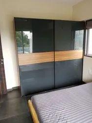 Brown & Black Wooden 7 Feet Bedroom Wardrobe