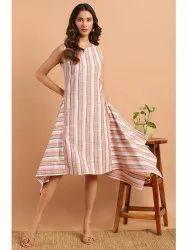 Janasya Women's Multicolor Cotton Western Dress(J0154)
