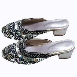 Women Embroidered Black With Golden Sitara Work Handmade Heels