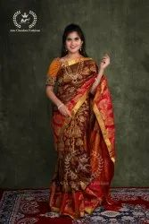 Wedding Wear Embroidered Pure Silk Sarees, 6 M (With Blouse Piece)