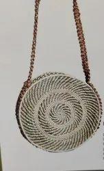 Natural Handled Handicraft Sabai Sea Kauna Grass Round Chain Weave Bag, Size: 12