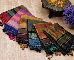 ANK    Enterprise  Soft Raw Silk Ikkat Woven Pallu Weaving Saree