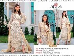 Semi-patiala Salwar Multicolor Ramsha Zainab Chotani Heavy Georgette