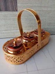 Rectangular Gold Plated Decorative Metal Basket, Size: 7inch
