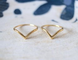 Thin Minimal Hammered V Ring