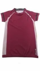 Round Half Sleeve Mens Maroon Casual T Shirt, Size: Large