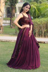 Party Wear Embroidery Maroon Lehenga Choli