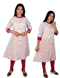 Formal Wear Straight Cotton Painted Ladies Kurtis, Wash Care: Handwash