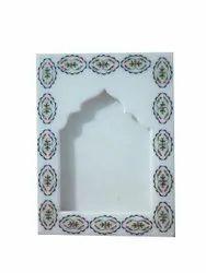 White Makarana Marble Inlay Photo Frame Inlaid With Semi Precious Gemstone