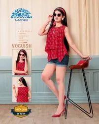 Rayon Casual Wear Fancy Girls Tops, Size: 24-38