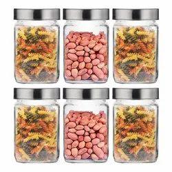 Croco Cubical Glass Jar 800ML Kitchen Container Storage