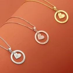 Personalized  Heart , Circle Name Necklace