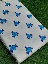 Printed White Cotton Fabric Fabric