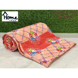 Orange Printed Double Bed AC Dohar Blanket