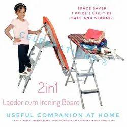 Mild Steel Powder Coated Ladder Cum Ironing Board, Standard Size