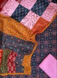 Cotton Ajarakh Print Suit Pcs With Applique Patch Work And Dupatta