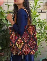 Multicolor Tussar Silk Tote Bags