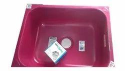Single Pink Stainless Steel Kitchen Sinks, 24x18 Inch