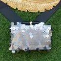 Sequin fabric clutch