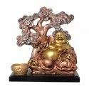 Polyresin Laughing Buddha Statue Sitting Under Coin Tree