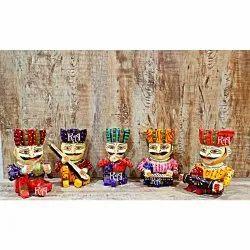 Multicolor Jaipur Wooden Musical Bawla Set of 5, Size: Height: 6 Inches