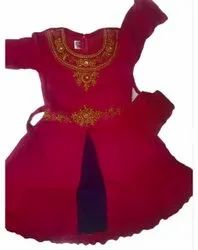 Cotton Party Wear Girls Maroon Frock, Age Group: 2-9 Years