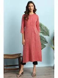 Janasya Women's Red Rayon Kurta (J0138)