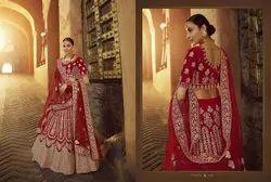 Red Pure Velvet Bridal Lehenga Choli With Zarkan, Dori And Zari Work