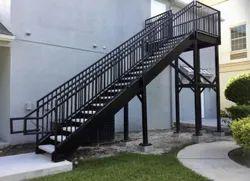 Rectangular Mild Steel Straight Run Staircase