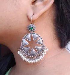 Dynamic Brass Daily Wear Silver Look Alike Pearl Hook Earring