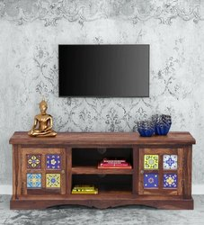 Brown Free Unit Sheesham Wood Tv Cabinet, For Home