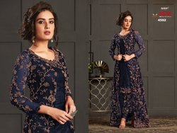 Salwar Cotton Ladies Dark Blue Embroidered Suits, Size: Medium