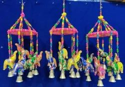 Wooden Traditional Elephant Jhoomar, For Decoration, Size/Dimension: 12 Inches Hight Approx