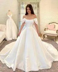 White Designer Christian Wedding Gown, Off Shoulder
