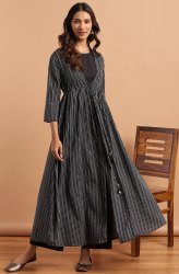 Janasya Women's Black Cotton Flex Crop Top With Palazzo and Jacket(J0186)