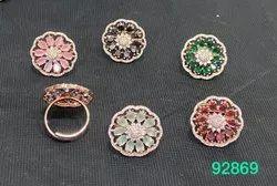 Women Brass American Diamonds Finger Ring